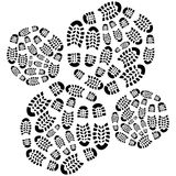 Concentric radials of footprints Stock Image