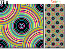 Concentric rings. Abstract background. Computer generated. Multicolor concentric circle seamless pattern fashion design tile Colorful  random concentric circles Royalty Free Stock Images