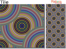 Concentric rings. Abstract background. Computer generated. Multicolor concentric circle seamless pattern fashion design tile Colorful  random concentric circles Stock Photos