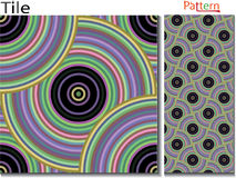 Concentric rings. Abstract background. Computer generated. Multicolor concentric circle seamless pattern fashion design tile Colorful  random concentric circles Stock Photography