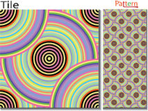 Concentric rings. Abstract background. Computer generated. Multicolor concentric circle seamless pattern fashion design tile Colorful  random concentric circles Royalty Free Stock Image