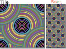 Concentric rings. Abstract background. Computer generated vector. Multicolor concentric circle seamless pattern fashion design tile Colorful  random concentric Stock Photo