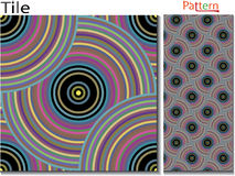 Concentric rings. Abstract background. Computer generated vector. Multicolor concentric circle seamless pattern fashion design tile Colorful  random concentric Royalty Free Stock Photo