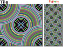 Concentric rings. Abstract background. Computer generated vector. Multicolor concentric circle seamless pattern fashion design tile Colorful  random concentric Stock Image