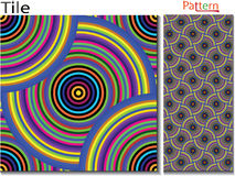 Concentric rings. Abstract background. Computer generated vector. Multicolor concentric circle seamless pattern fashion design tile Colorful random concentric Stock Illustration