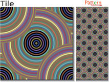 Concentric rings. Abstract background. Computer generated vector. Multicolor concentric circle seamless pattern fashion design tile Colorful  random concentric Royalty Free Stock Photos