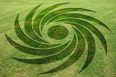 Concentric spirals symbols fake crop circle meadow. Concentric spirals symbols fake crop circle in the meadow vector illustration