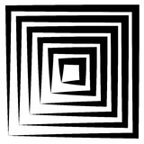 Concentric squares w dynamic irregular line. monochrome abstract Stock Image