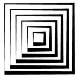 Concentric squares w dynamic irregular line. monochrome abstract Royalty Free Stock Images