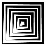 Concentric squares w dynamic irregular line. monochrome abstract Royalty Free Stock Photography