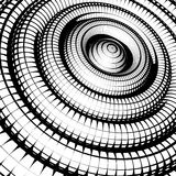 Concentric tubes shaded with grid pattern black white Stock Photos