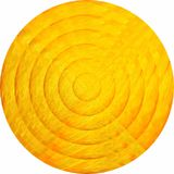 Concentric yellow circles in mosaic. Illustration, Yellow button in mosaic style vector illustration