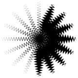 Concentrisch radiaal element Het uitstralen van abstract geometrisch element vector illustratie