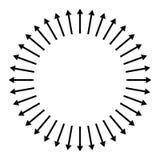 Concentrisch, radiaal, uitstralend pijlen Cirkelpijlelement vector illustratie