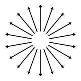 Concentrisch, radiaal, uitstralend pijlen Cirkelpijlelement stock illustratie