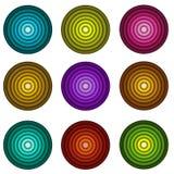 Concentrische pijpvorm in veelvoudige kleuren over wit Stock Afbeeldingen