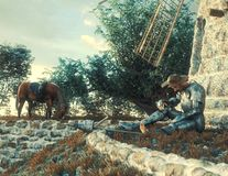 Concepção de Don Quixote e do moinho de vento ilustração royalty free