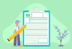 Concep en línea del pago de impuestos ilustración del vector