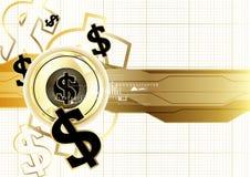 Concep för affär för mynt för världsomspännande finansiering för Digital valuta guld- Royaltyfria Bilder