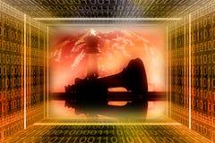 concep przemysłowej cyfrowej wojny obraz stock