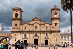 Concepcion Church Facade Zipaquira Colombia. The facade of the twin bell and clock tower of Concepcion church in downtown Zipaquira, Colombia royalty free stock photo