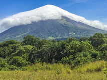 Concepcion Volcano covered by white cloud,. Stock Image