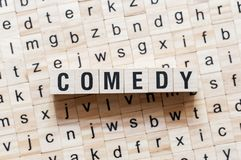 Concepr da palavra da comédia em cubos fotografia de stock royalty free