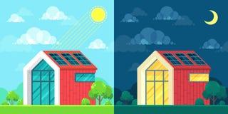 Concept à énergie solaire d'idée Jour et nuit paysage Image stock