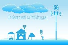 concept à grande vitesse de l'Internet 5G, Internet des choses images libres de droits