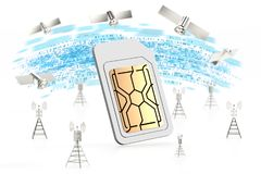 Concept à grande vitesse de transfert des données Carte de Sim entourée avec des tours et des satellites de réseau D'isolement su illustration de vecteur