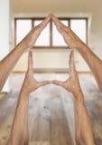 Concept à la maison d'immobiliers de famille d'assurance de symbole Photo libre de droits