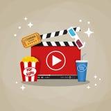 Concept à la maison en ligne de cinéma illustration libre de droits