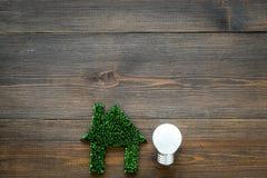 Concept économisant de technologie d'Enegry Coupe-circuit de Chambre fait en herbe verte près de l'ampoule sur la vue supérieure  photo libre de droits