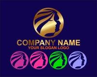 Concept élégant de logo de femme et d'homme de fice photos stock