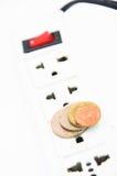 Concept électrique d'énergie d'économies de hub avec le fond blanc d'isolement Images stock