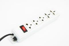 Concept électrique d'énergie d'économies de hub avec le fond blanc d'isolement Photos stock