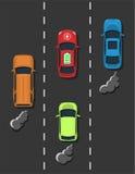 Concept électrique de transport Voiture électrique avec la comparaison habituelle de voitures de combussion Images libres de droits