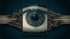 Concept électronique d'oeil de frère, technologies pour la surveillance globale, balayage biométrique de rétine, degré de sécurit Images libres de droits