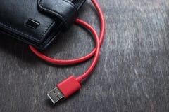 Concept électronique de portefeuille par l'usb Photos stock