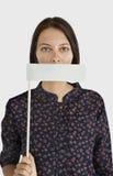 Concept éligible interdit couvert par bouche de femme Photos libres de droits