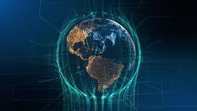 Concept évident de technologie de rotation de particules de la terre banque de vidéos