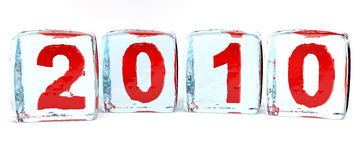 Concept of 2010 year's. In the form of ice cube Royalty Free Stock Photography