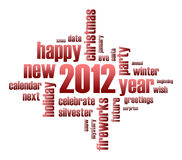 Concept of 2012 year theme. (word cloud royalty free illustration