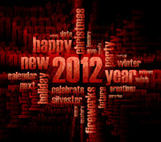 Concept of 2012 year theme. (word cloud on black background vector illustration