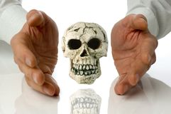 Concept. Human skull isolated between hands on white Royalty Free Stock Photo