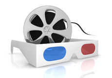 Concept of 3d movie technology. 3d glasses with blue and red lens and a film reel, concept of new movie technologies (3d render Stock Photography