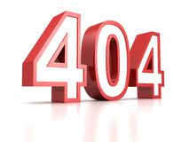 Concept 404 error red text on white background. 3d Royalty Free Stock Photos