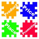 Concept the 4P's of Marketing. As puzzle game vector illustration