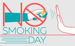 Banner  No Smoking day. Concept of abandoning the harmful habit of smoking in the form of a hand with a pack of cigarettes and a hand refusing to smoke with a Stock Image