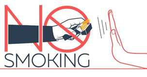 Banner  No Smoking. Concept of abandoning the harmful habit of smoking in the form of a hand with a pack of cigarettes and a hand refusing to smoke with a Stock Photo